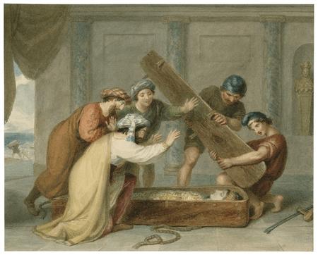 Cerimon, gentleman, servants and Thaisa