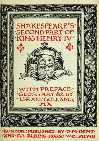 Frontpiece to 1899 edition of Henry IV Part 2