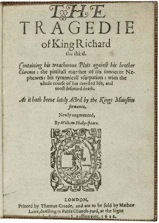 "Title page for ""The tragedie of King Richard the third"", fifth quarto"