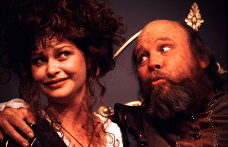 "Mistress Page (Julie Hughett) and Falstaff (John Rousseau) in ""The Merry Wives of Windsor"", staged by Pacific Repertory Theatre"