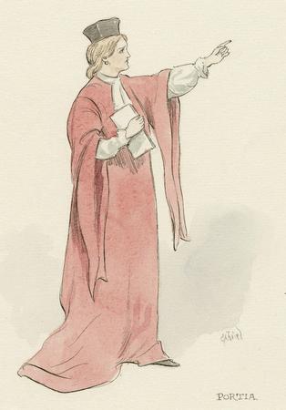 Costume sketch for Portia