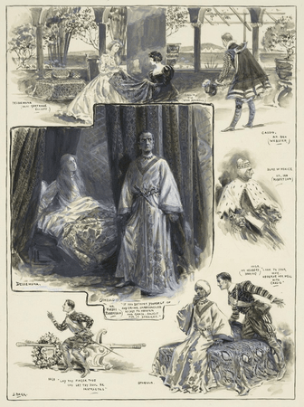 Grouped vignettes depicting characters and scenes from Othello