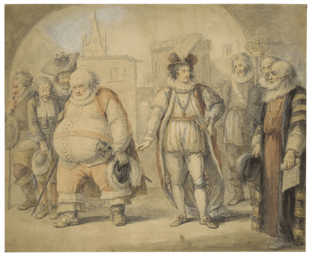 Falstaff reproved by King Henry